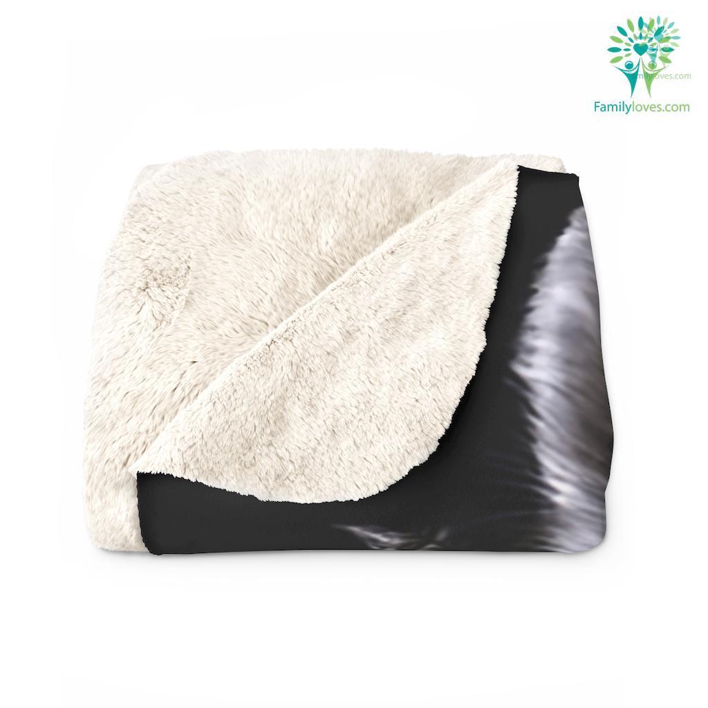 Black Wolf Sherpa Fleece Blanket Familyloves.com