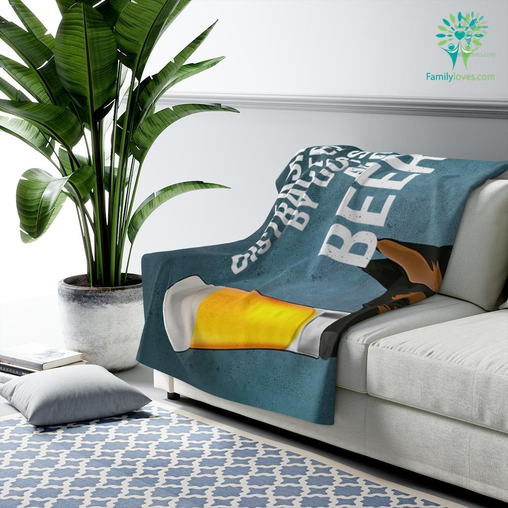 Easily Distracted By Dogs And Beer German Shepherd Dog Sherpa Fleece Blanket Familyloves.com