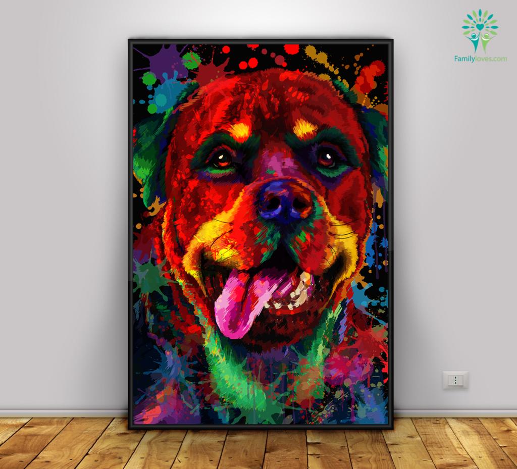 Rottweiler Dog colorful canvas 3 Familyloves.com