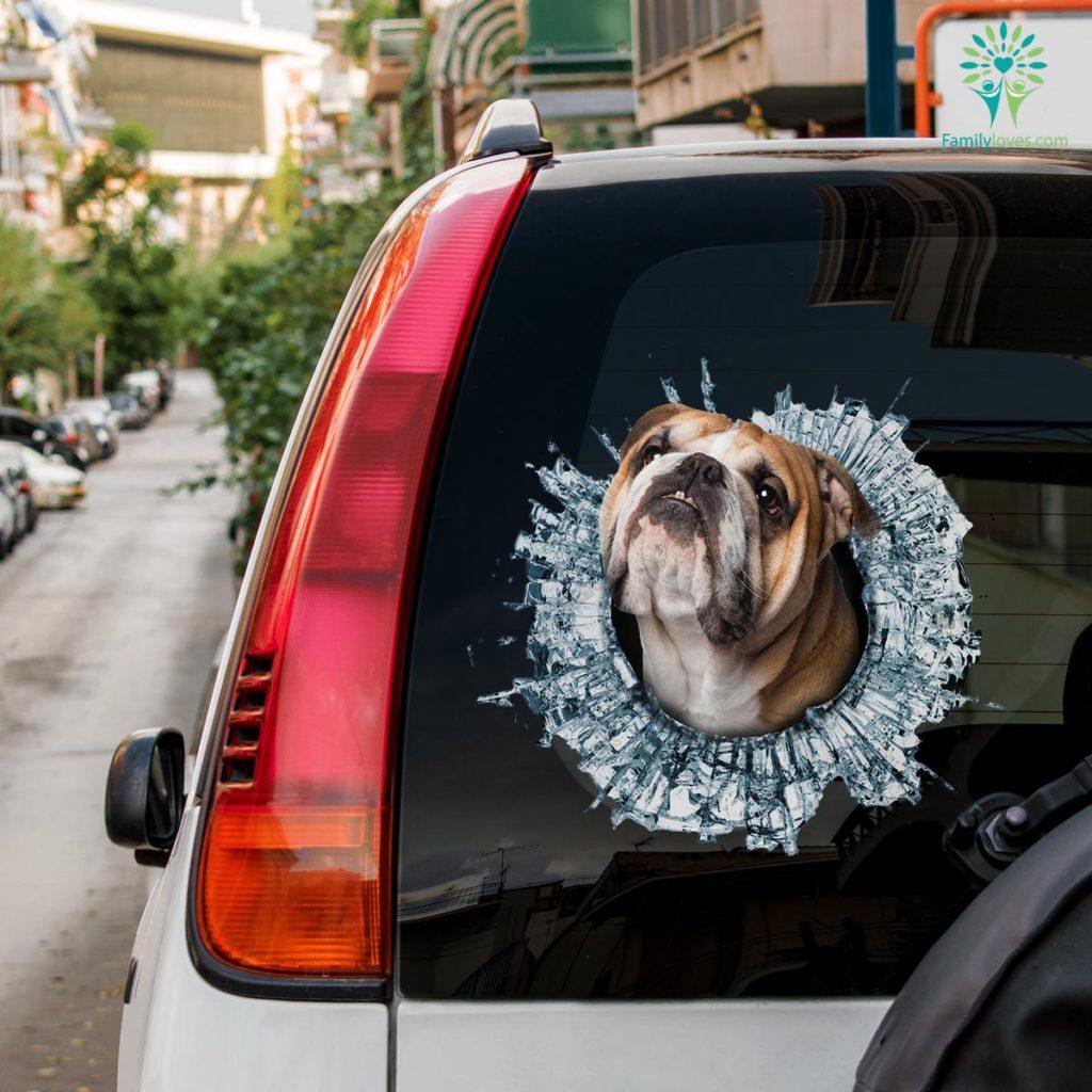 Bulldog Car Decal And Broken Car Window Sticker, Dog Window Decal Familyloves.com