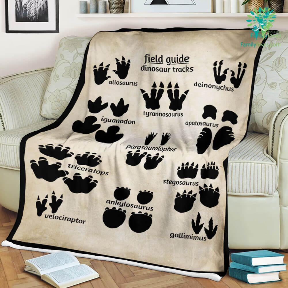 Field Guide Dinosaur Tracks Sherpa Fleece Blanket Familyloves.com