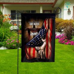 God Bless America Christian Cross Garden Flag  Garden Flag- Nichefamily.com