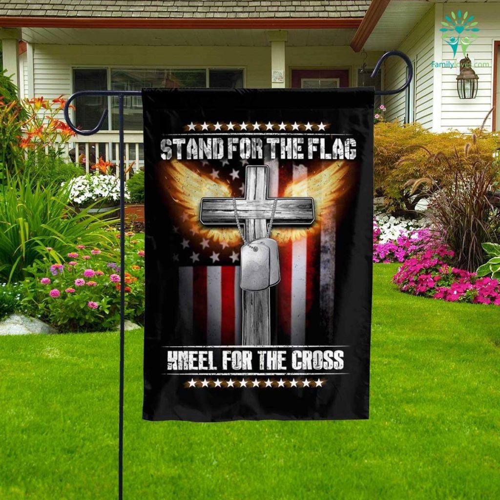 Stand For The Kneel For The Cross Garden Flag Familyloves.com