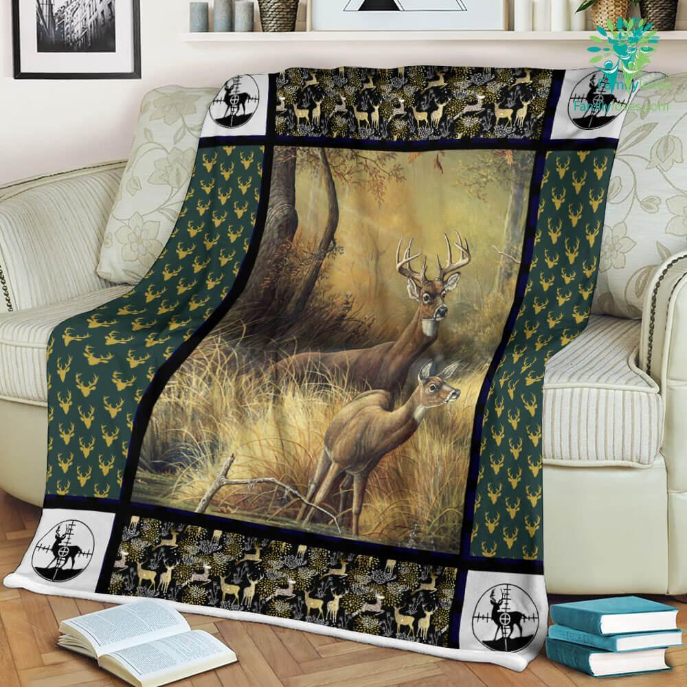 Hunting Deer For Sale Sherpa Fleece Blanket Familyloves.com