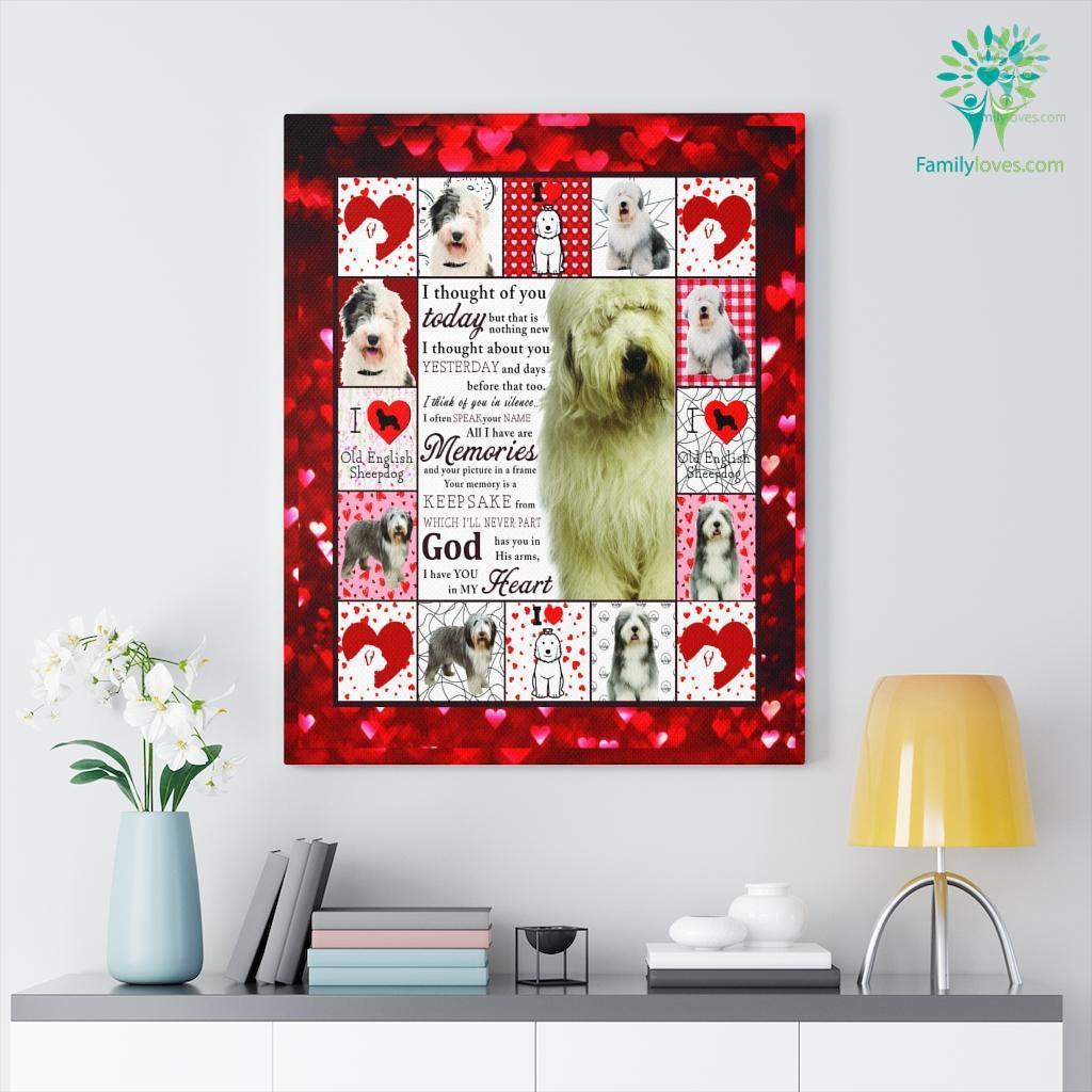 I Love Old English Sheep Dog Canvas Familyloves.com