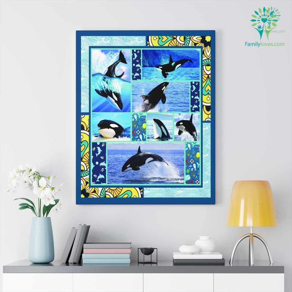 Orca Whale Killer Fleece Canvas Familyloves.com