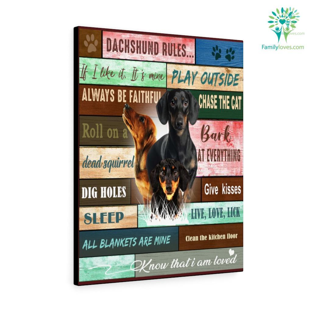 Dachshund Dog Rules Canvas Familyloves.com