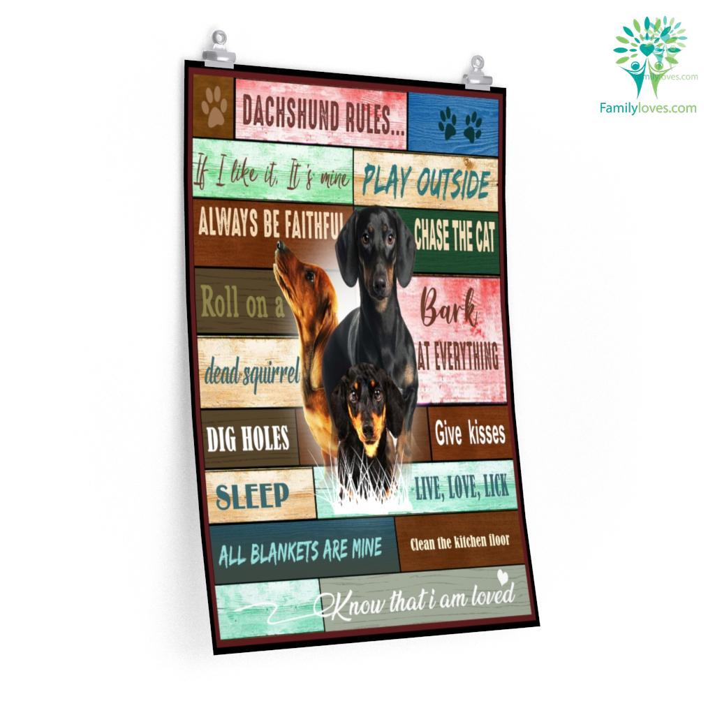 Dachshund Dog Rules Posters Familyloves.com