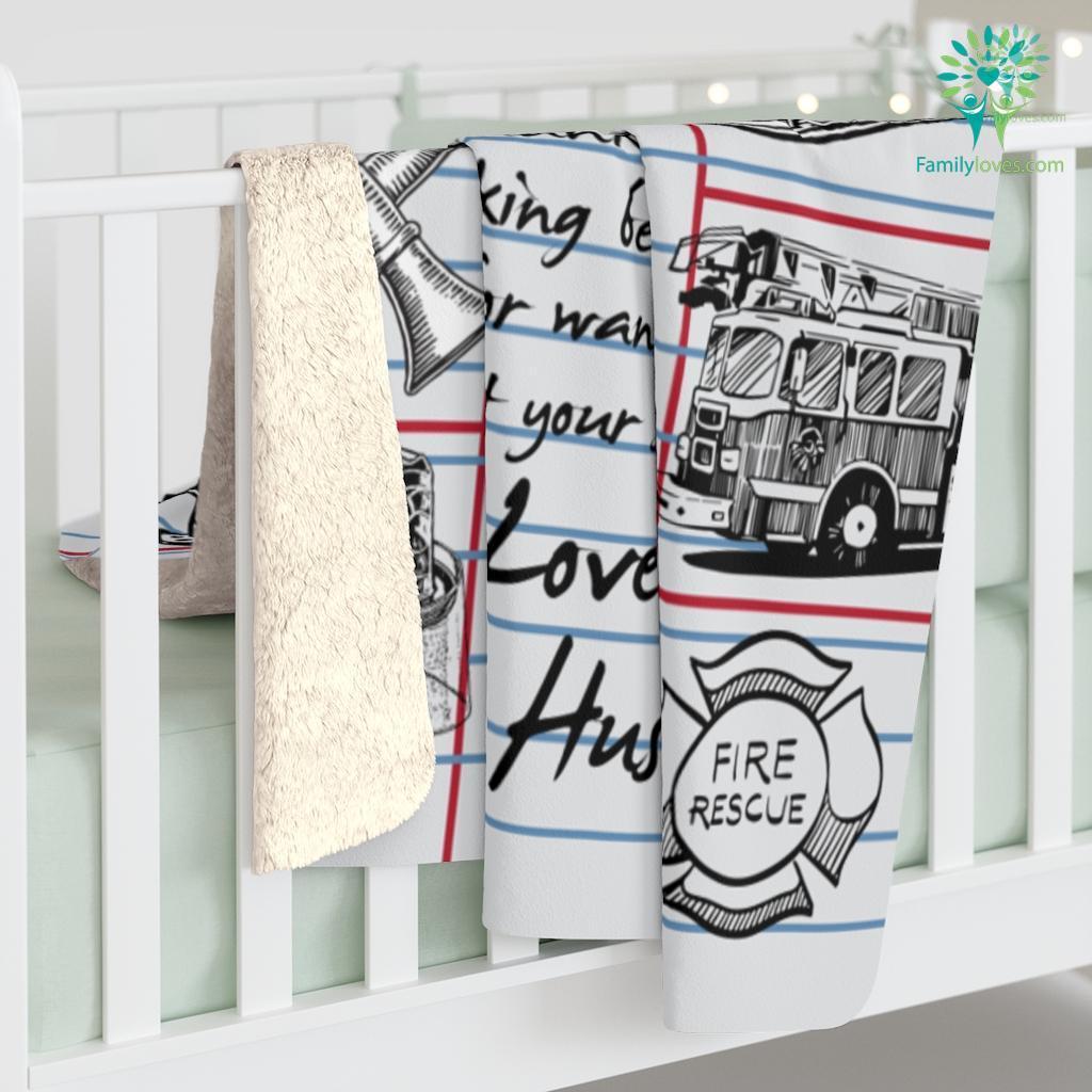 To My Firefighter'Wife Love Husband Sherpa Fleece Blanket Familyloves.com