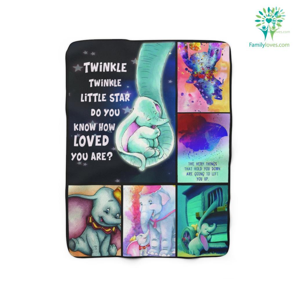 Twinkle Twinkle Little Star Dumbo And Mom Elephant Fleb Sherpa Fleece Blanket Familyloves.com