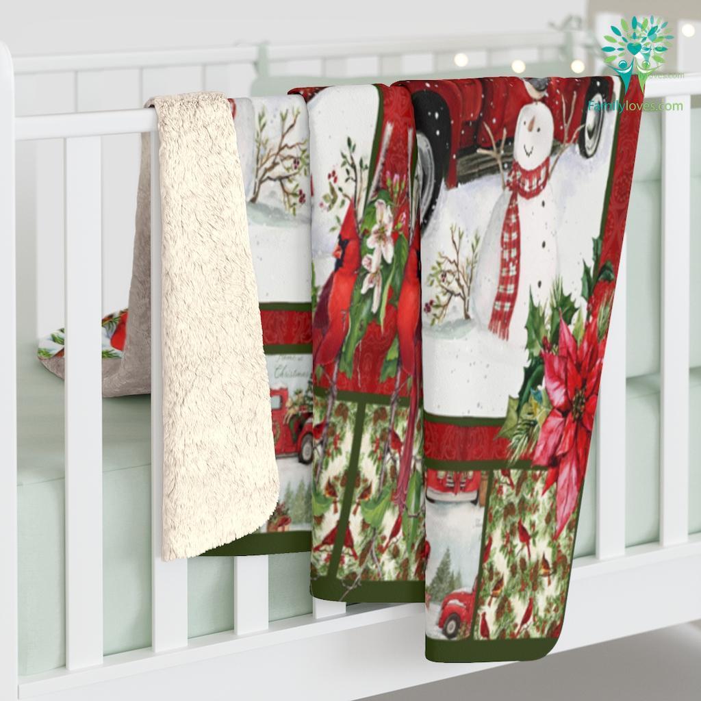 Nov Htth Red Truck Cardinals Christmas Ihtlht Sherpa Fleece Blanket Familyloves.com