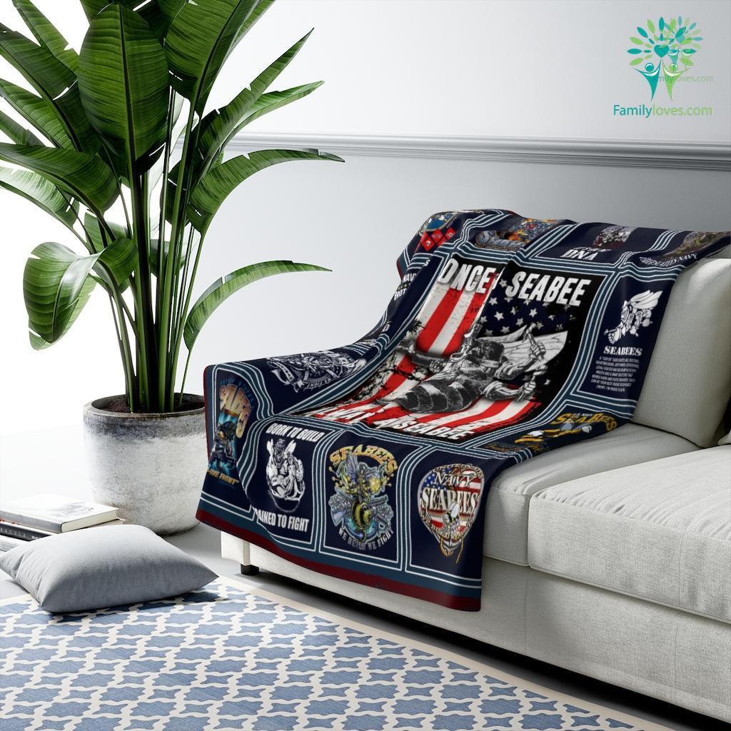 Once A Seabee Always A Seabee Sherpa Fleece Blanket Familyloves.com