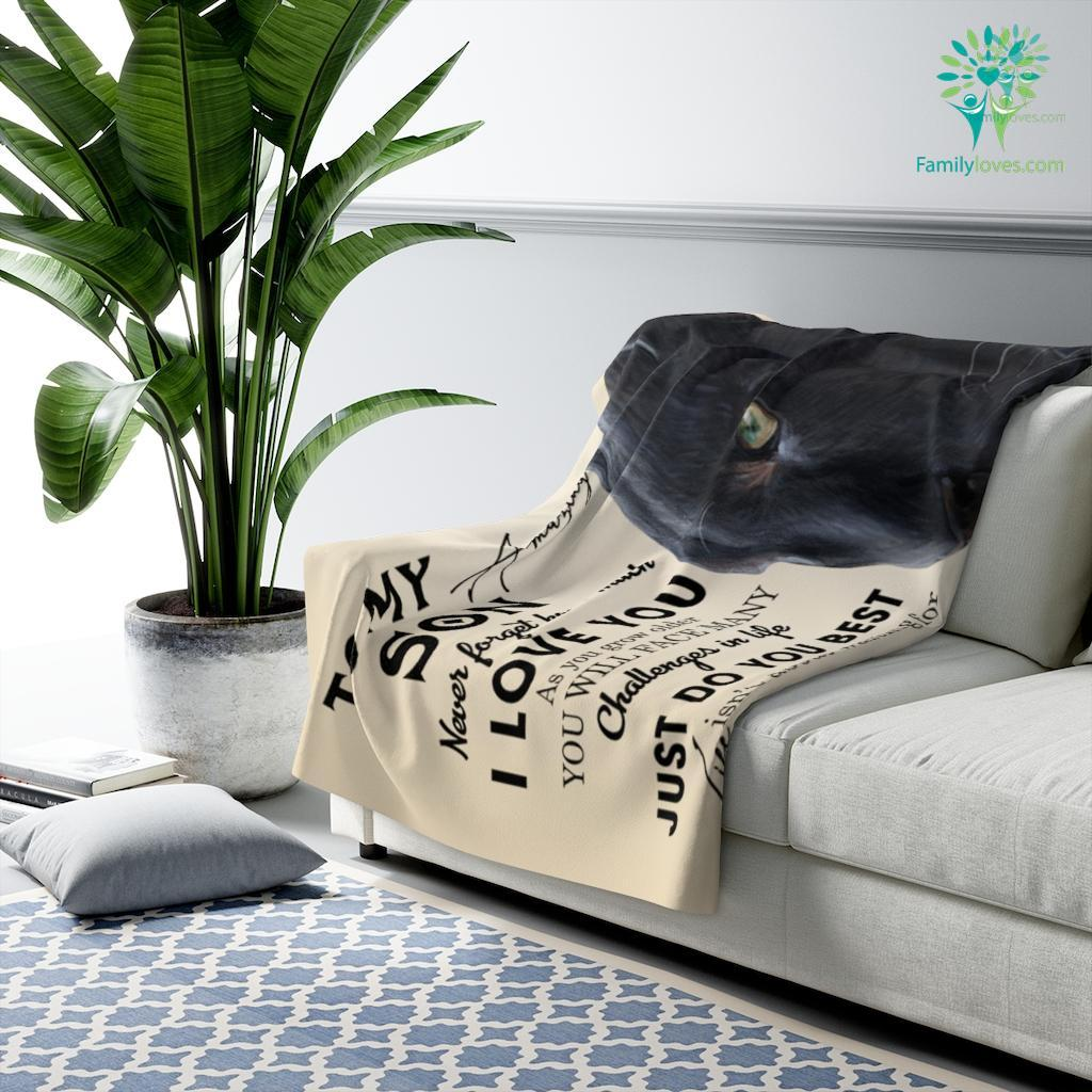 To My Son Never Forget How Much Love Dblack Sherpa Fleece Blanket Familyloves.com