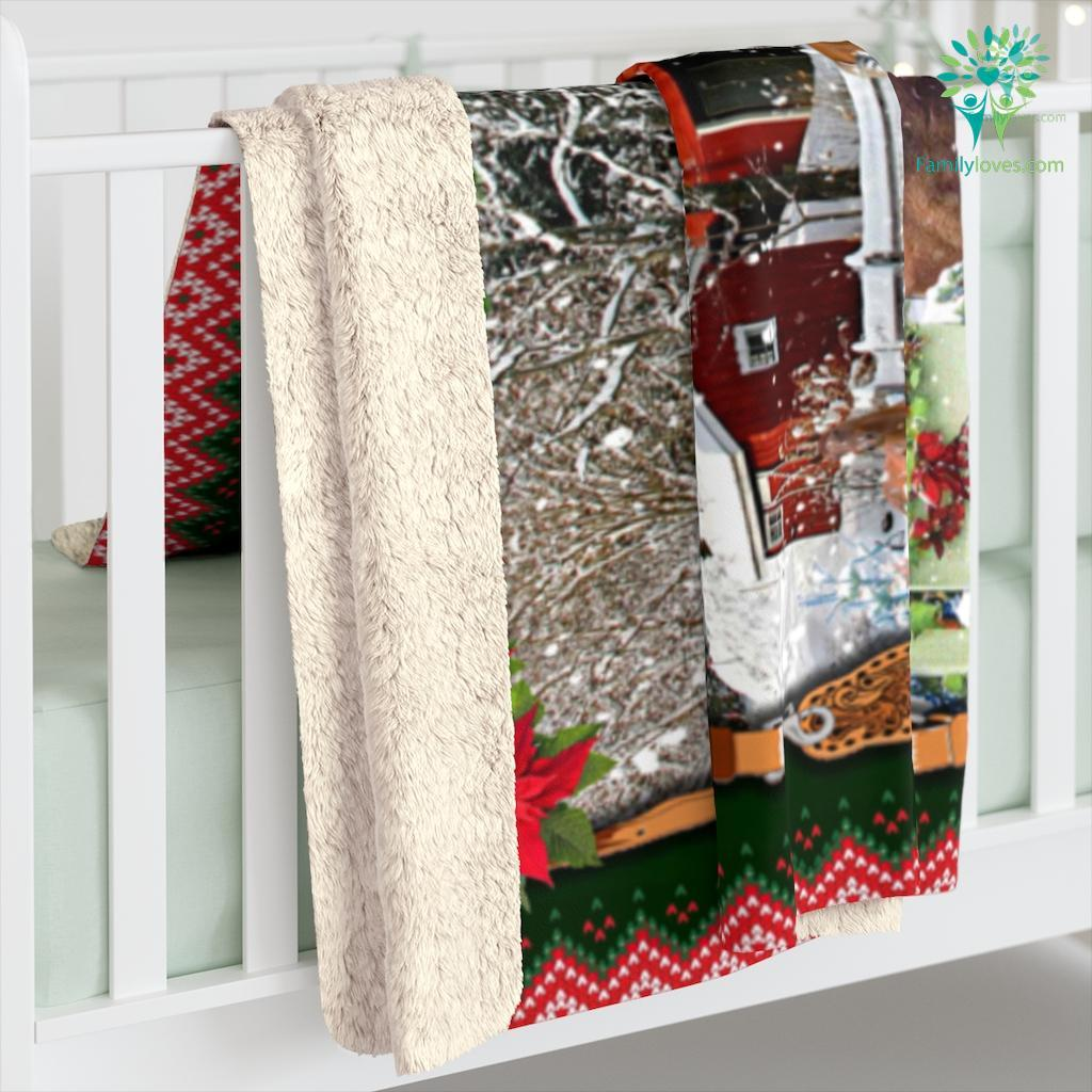 Horse Red Truck All Hearts Come Home For Christmas Bed Set Sherpa Fleece Blanket Familyloves.com