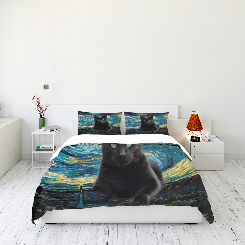Black Cat Starry Night Bedding Set Familyloves.com