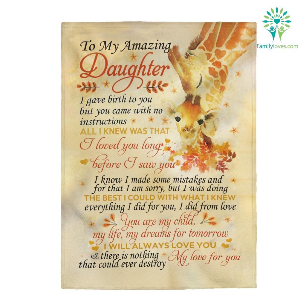 To My Amazing Daughter I Gave Birth To You Velveteen Plush Blanket Familyloves.com