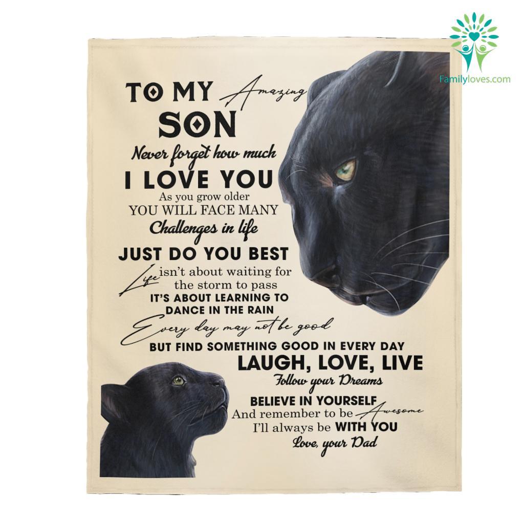 To My Son Never Forget How Much Love Dblack Velveteen Plush Blanket Familyloves.com