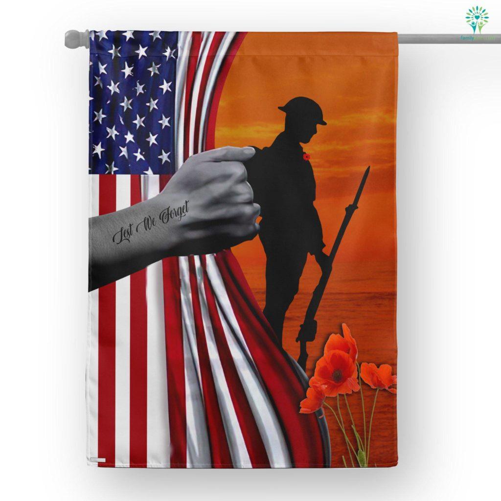 Veteran Lest We Forget Gift For Dad House Flag Familyloves.com