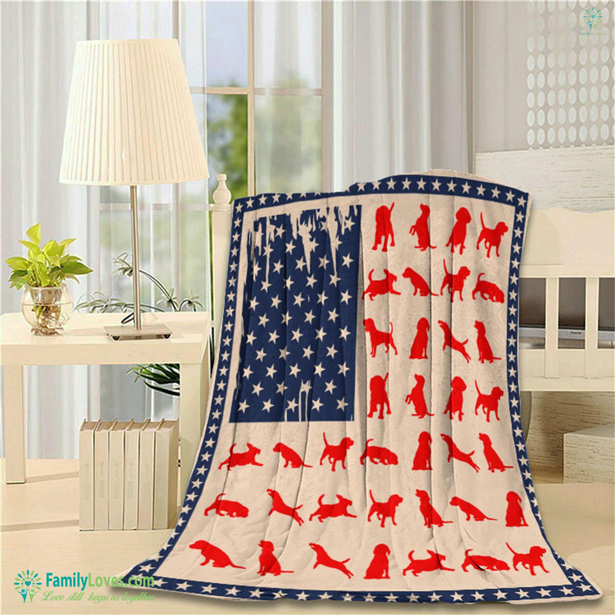 Beagles Flag Blanket 19 Familyloves.com
