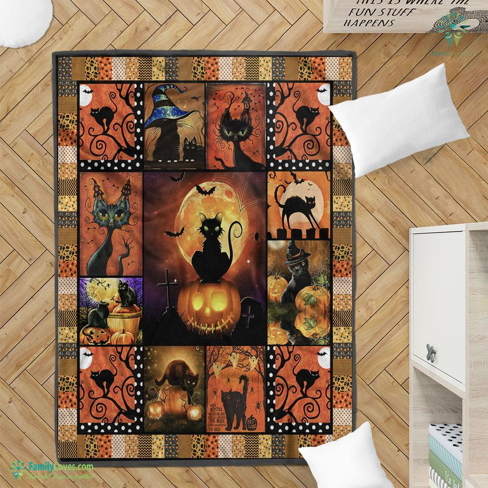 Black Cat Sitting On Pumpkin Halloween Blanket 23 Familyloves.com