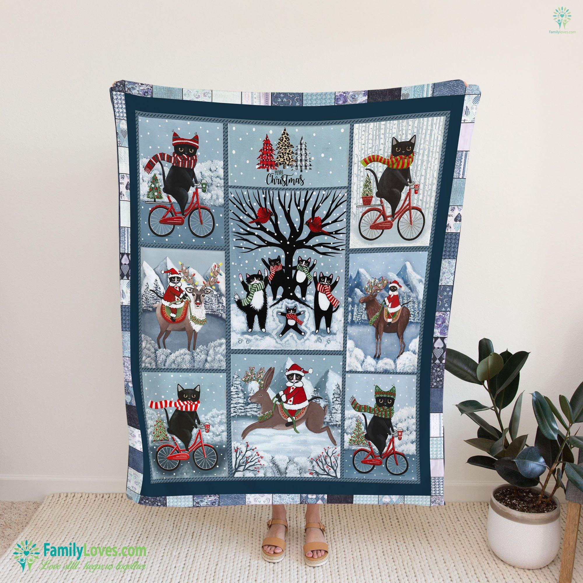 Celebration Of Winter Original Tuxedo Cat Folk Art Blanket 23 Familyloves.com