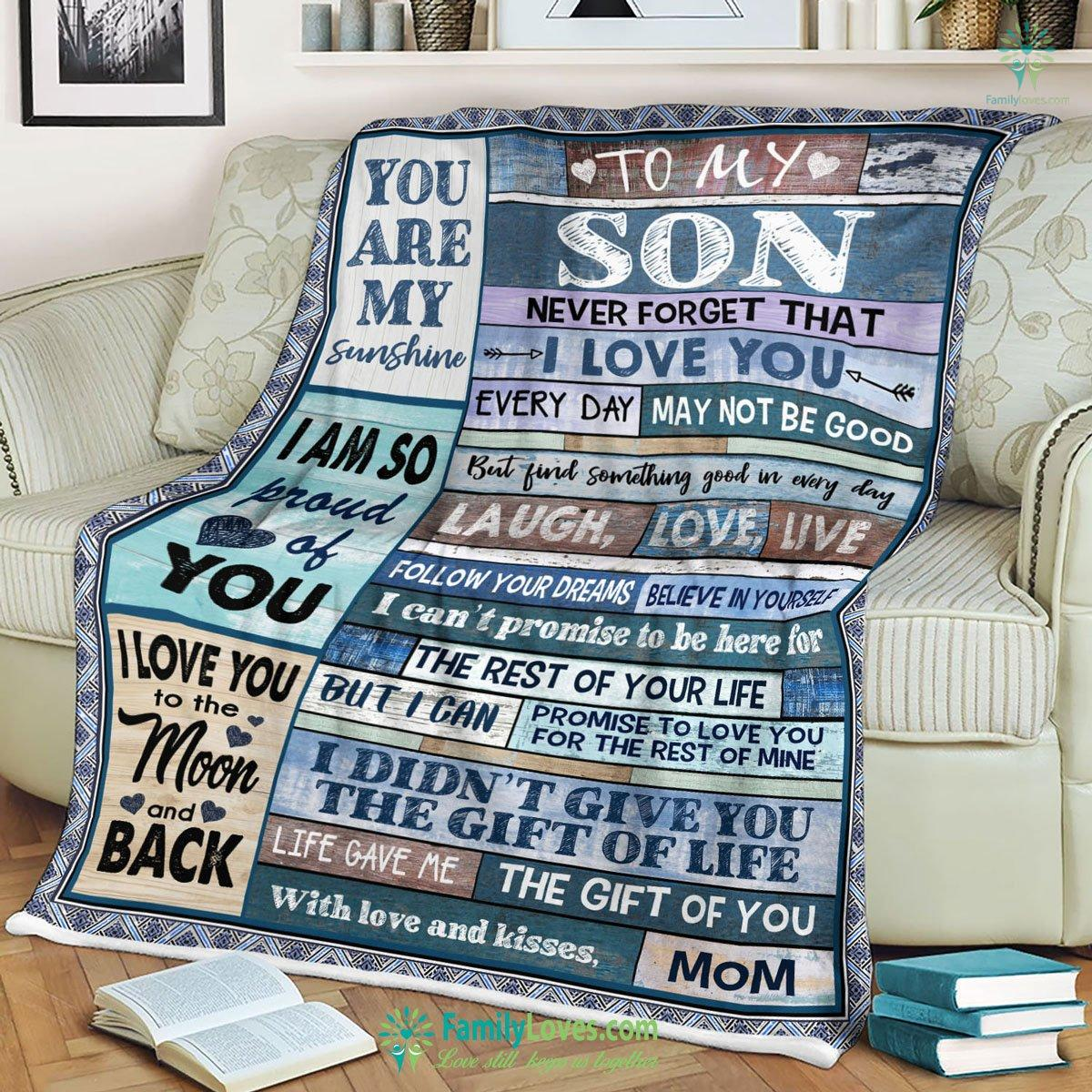 Family Mom You Are My Sunshine To My Son Blanket 23 Familyloves.com