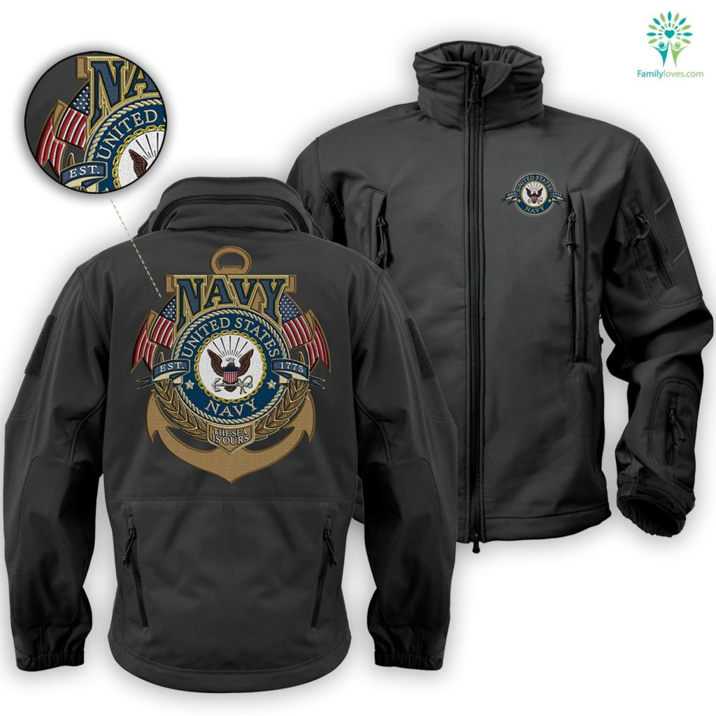 Us Navy LogoSoft Shell Tactical Embroidered Jacket Free Shipping Familyloves.com