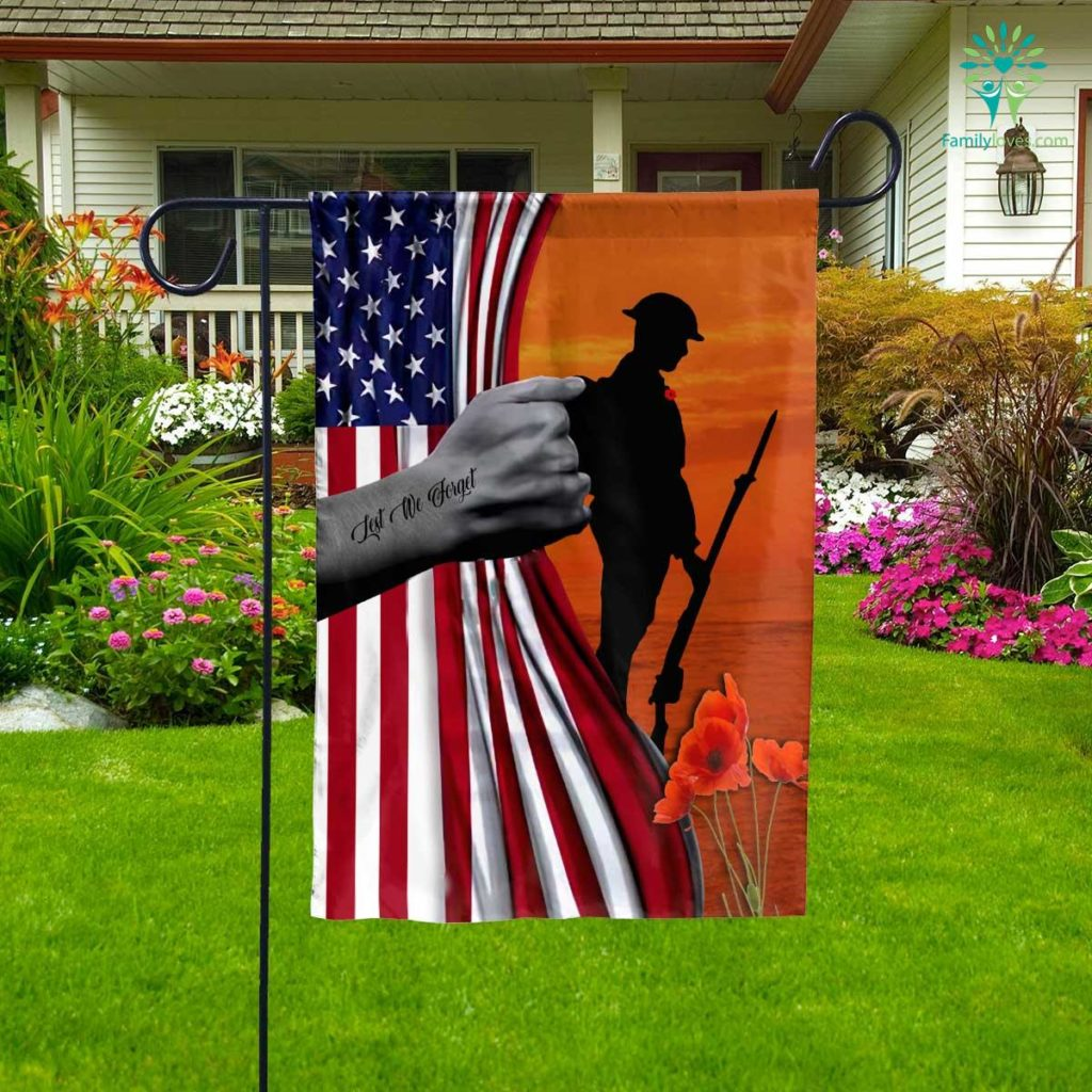 Veteran Lest We Forget Gift For Dad Garden Flag Familyloves.com