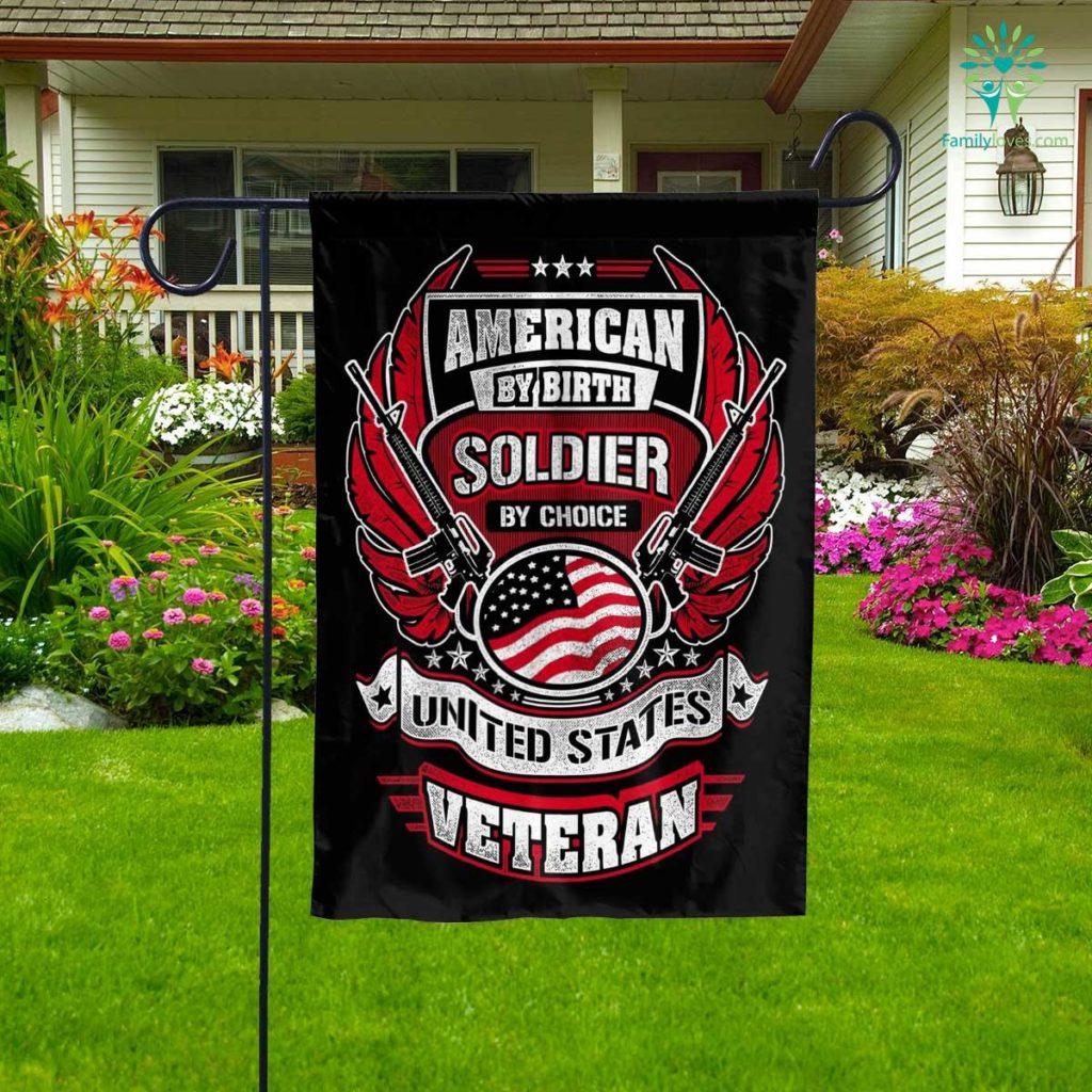 Veteran American By Birth Garden Flag Familyloves.com