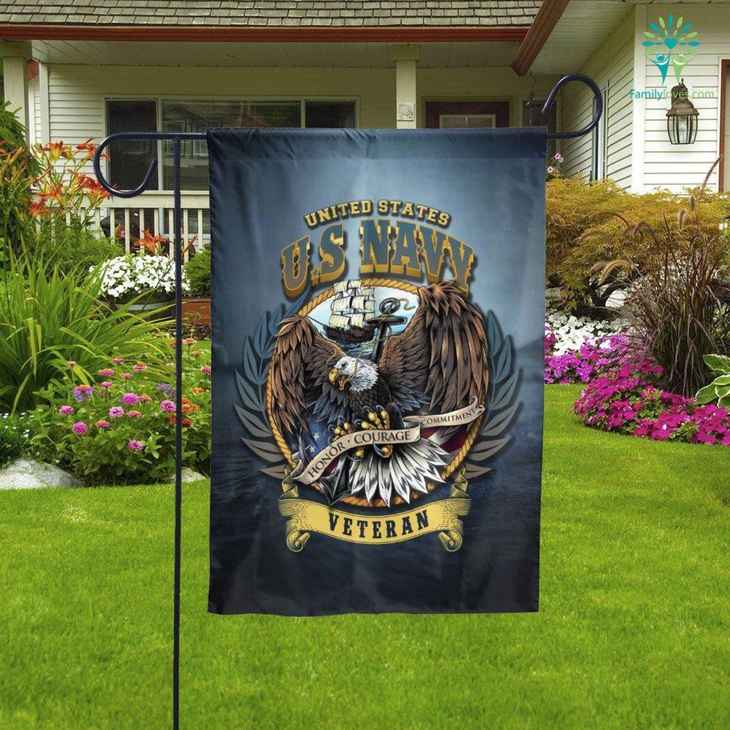U.s Navy Hornor Courage Commitment Veteran Garden Flag  Garden Flag- Nichefamily.com