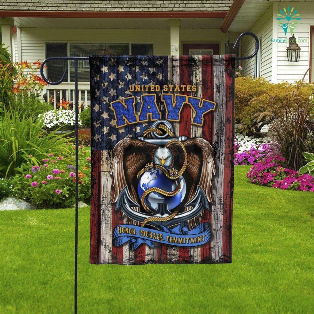 United States Navy Honor Courage Commitment Garden Flag  Garden Flag- Nichefamily.com