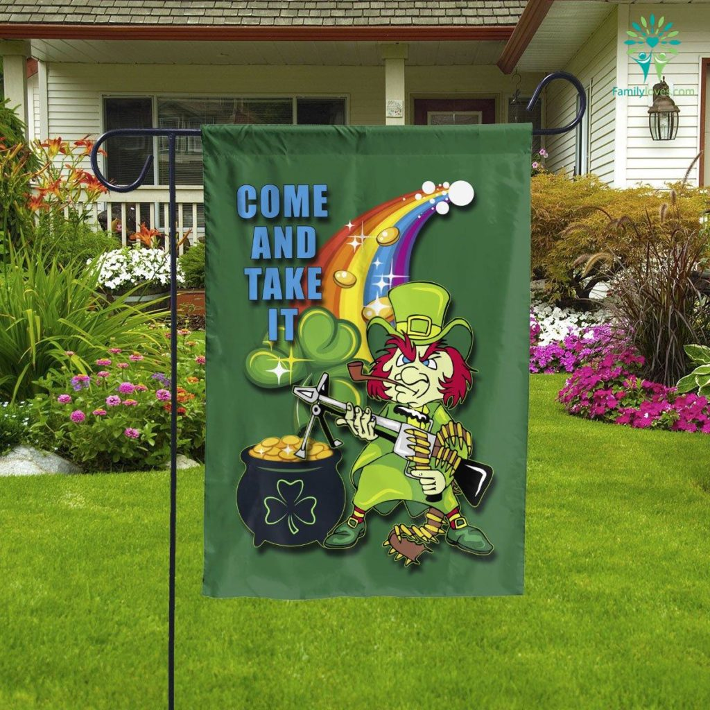 Come And Take It Leprechaun Garden Flag  Garden Flag- Nichefamily.com