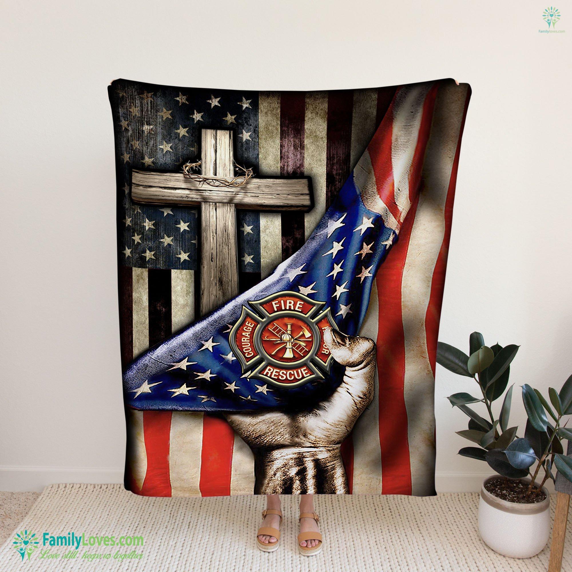 God Firefighter Blanket 14 Familyloves.com