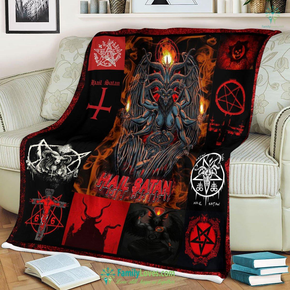 Hail Satan Fleece Blanket 8 Familyloves.com
