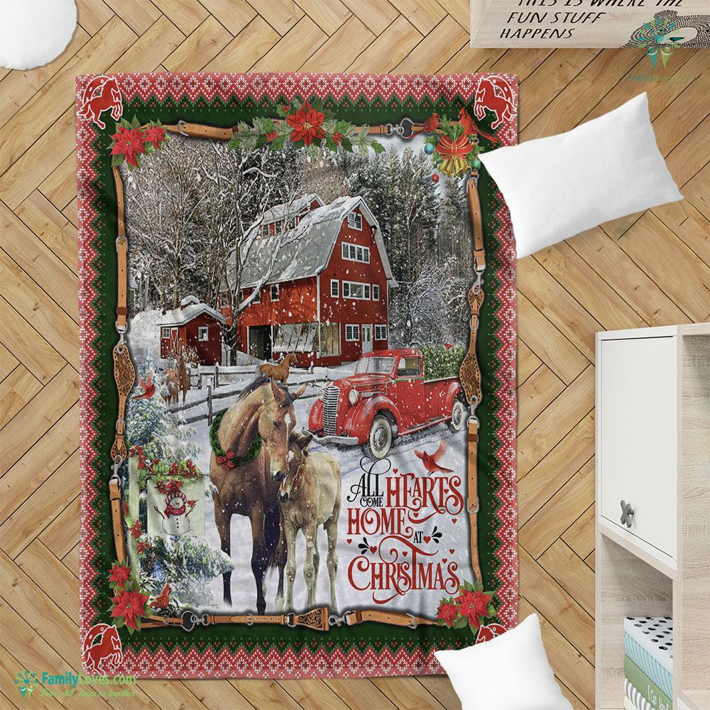 Horse Red Truck. All Hearts Come Home For Christmas Blanket 19 Familyloves.com