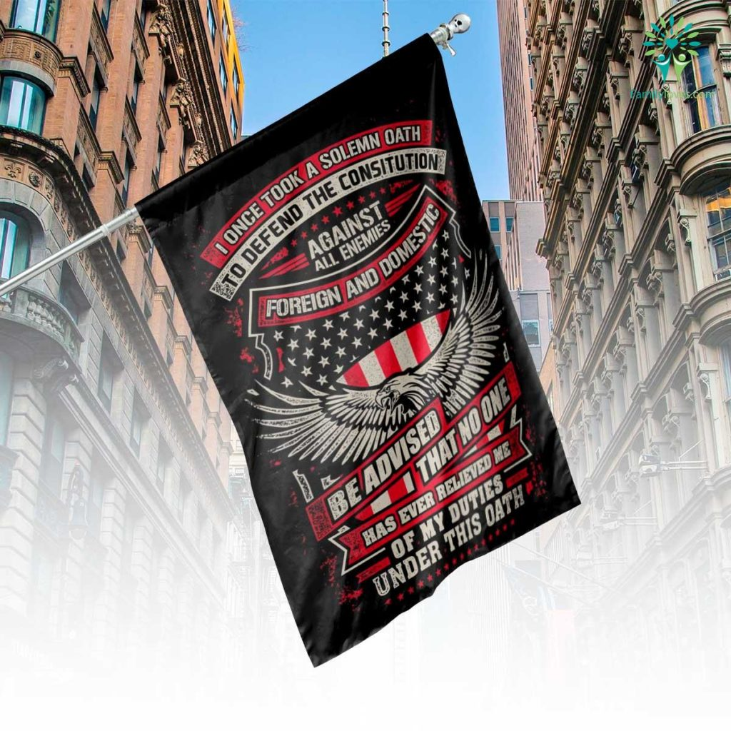 Veteran Solemn Oath House Flag Familyloves.com
