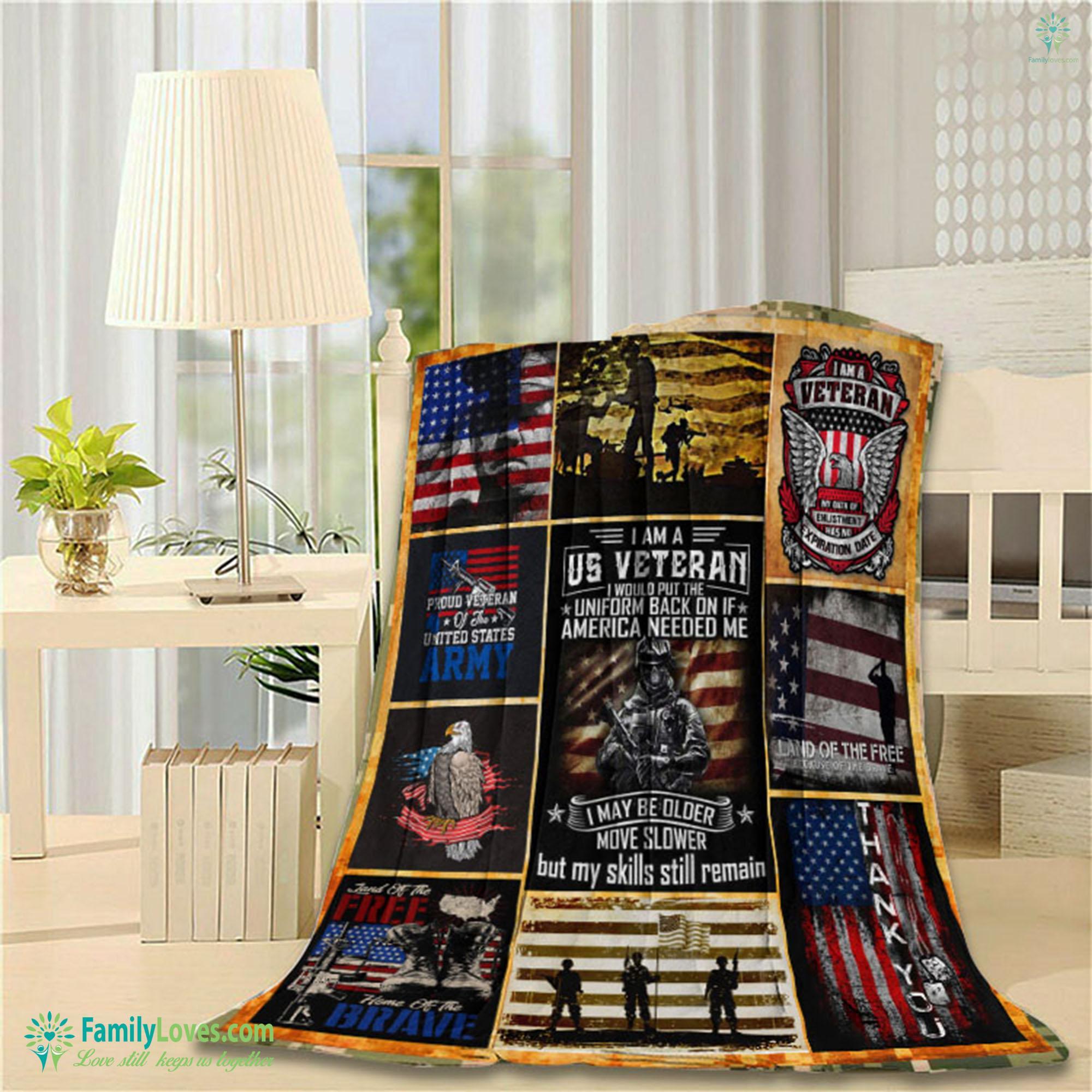 I Am A U.S Veteran Blanket 12 Familyloves.com