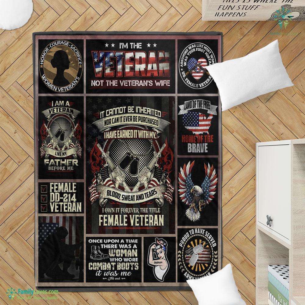 Im The Veteran Not The Veterans Wife Washable Preshrunk Poly Blanket 10 Familyloves.com