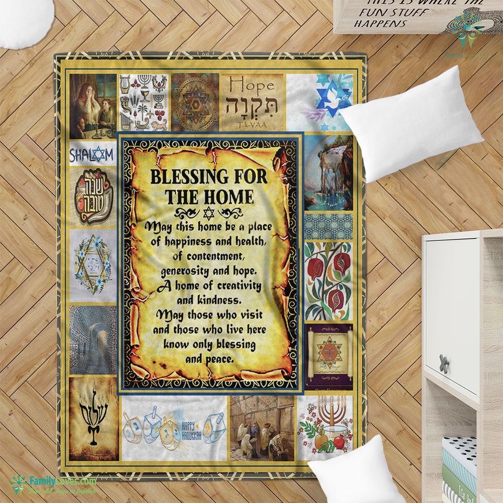 Jewish House Blessing Fleece Blanket 23 Familyloves.com