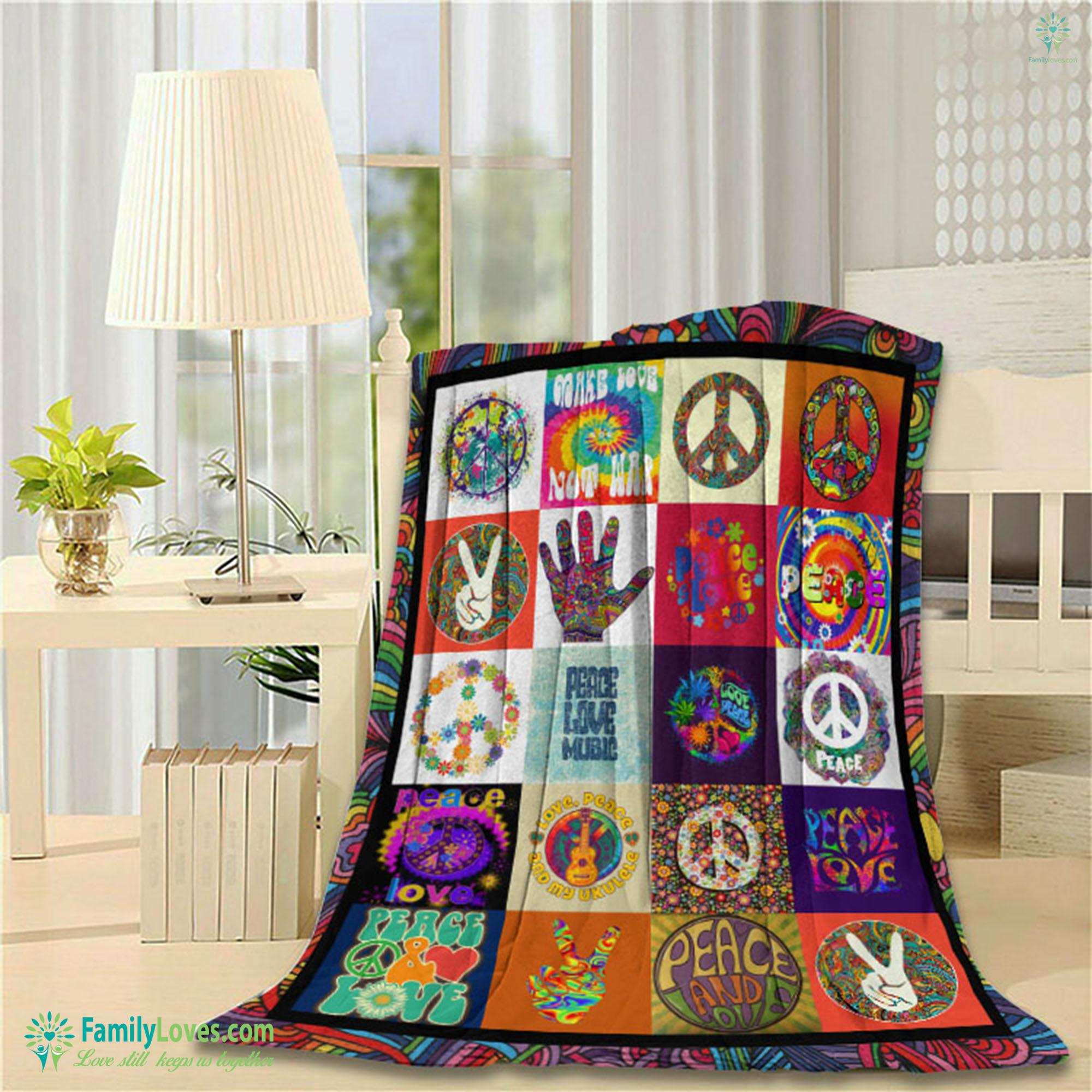 Love Peace Music Copy Blanket 6 Familyloves.com