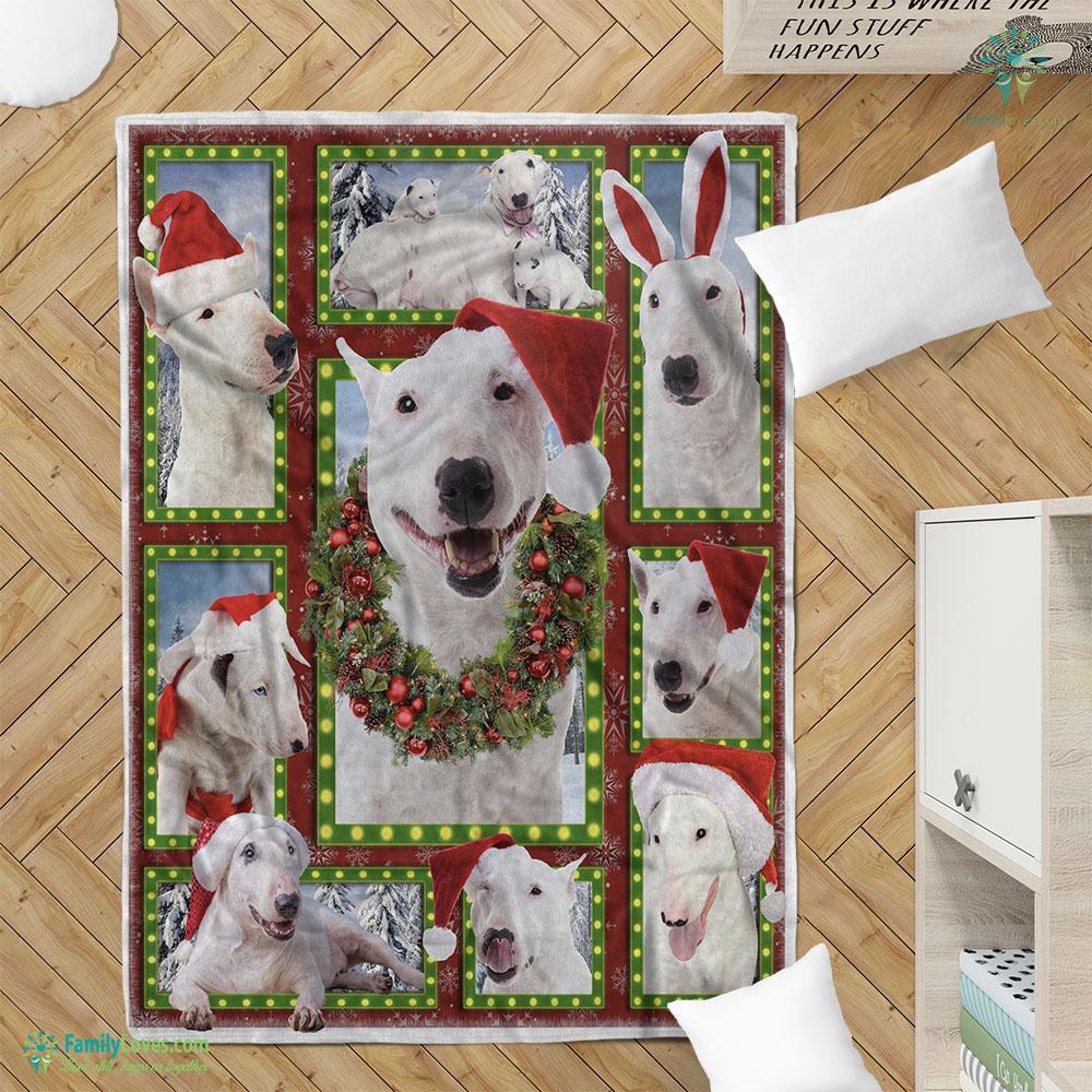 Merry Christmas Dog Bull Terrier Bg Blanket 19 Familyloves.com