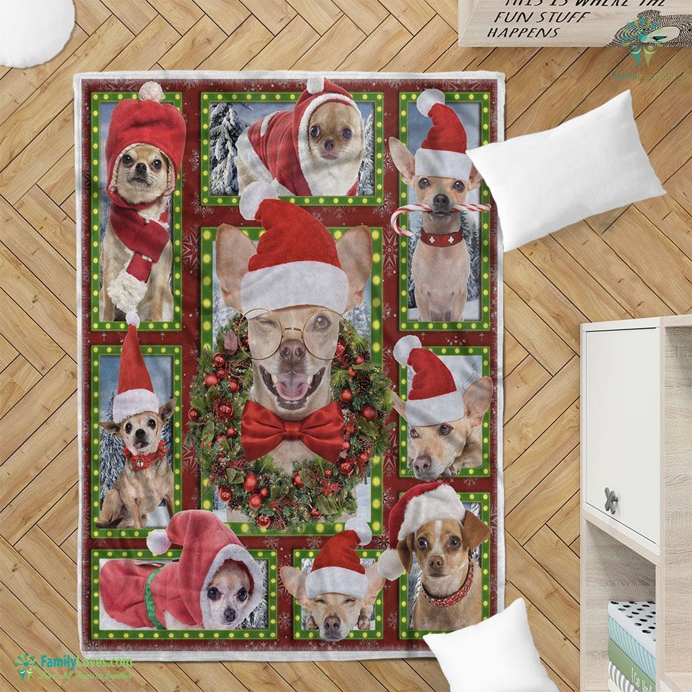 Merry Christmas Dog Chihuahua Bg Blanket 20 Familyloves.com