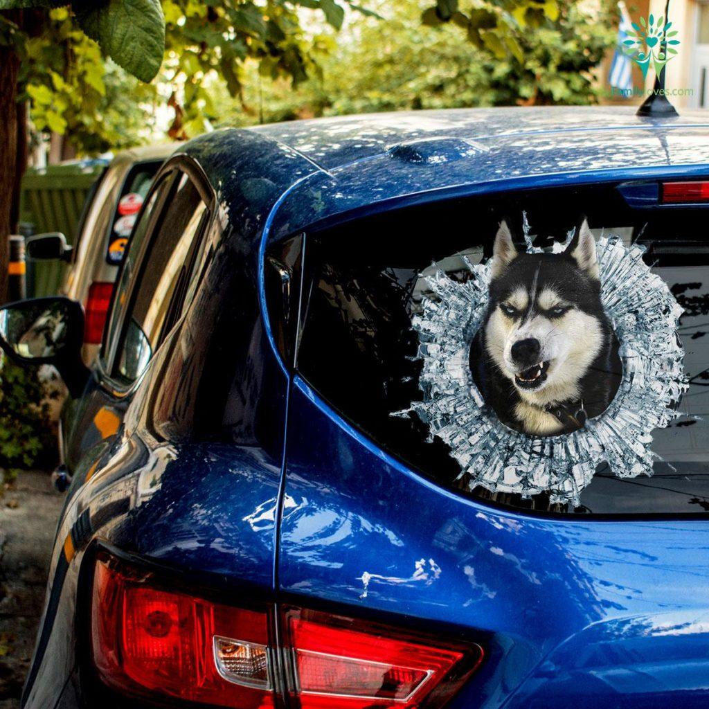 Siberian Huskies Dog Car Decal And Broken Car Window Sticker, Dog Window Decal, Anime Car Decals Familyloves.com