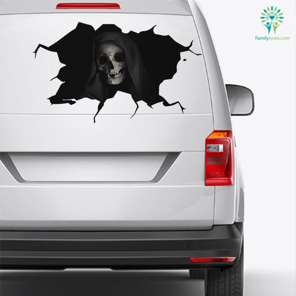Skull Death Car Decal And Broken Car Window Sticker, Car Window Decals Familyloves.com