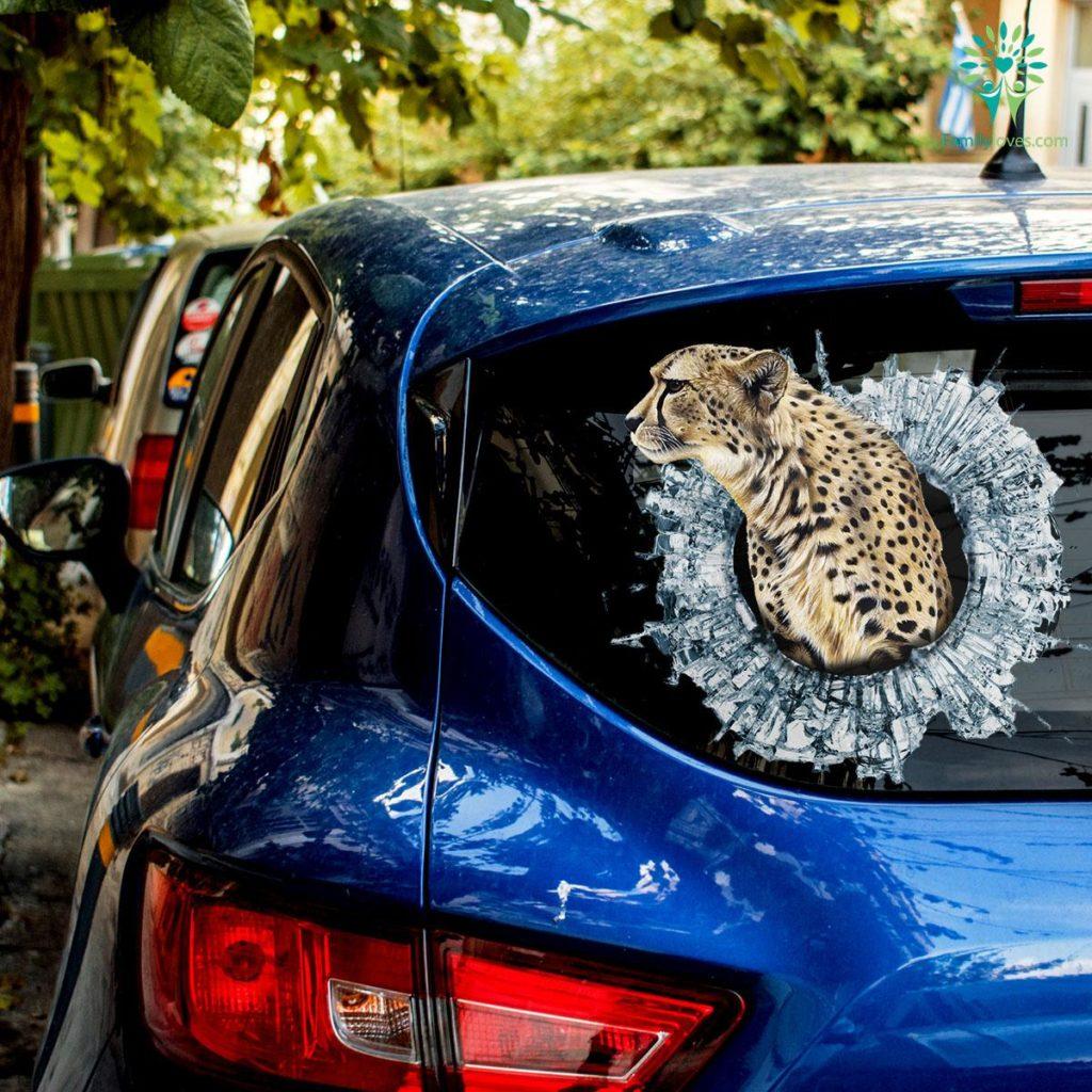 The Jaguar Car Decal And Broken Car Window Sticker, Custom Car Decals Familyloves.com
