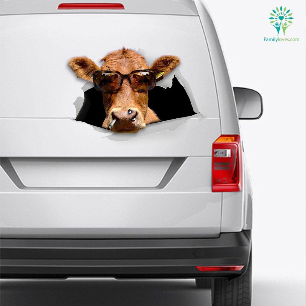 Funny Cow Car Decal And Broken Car Window Sticker, Car Window Decals Familyloves.com