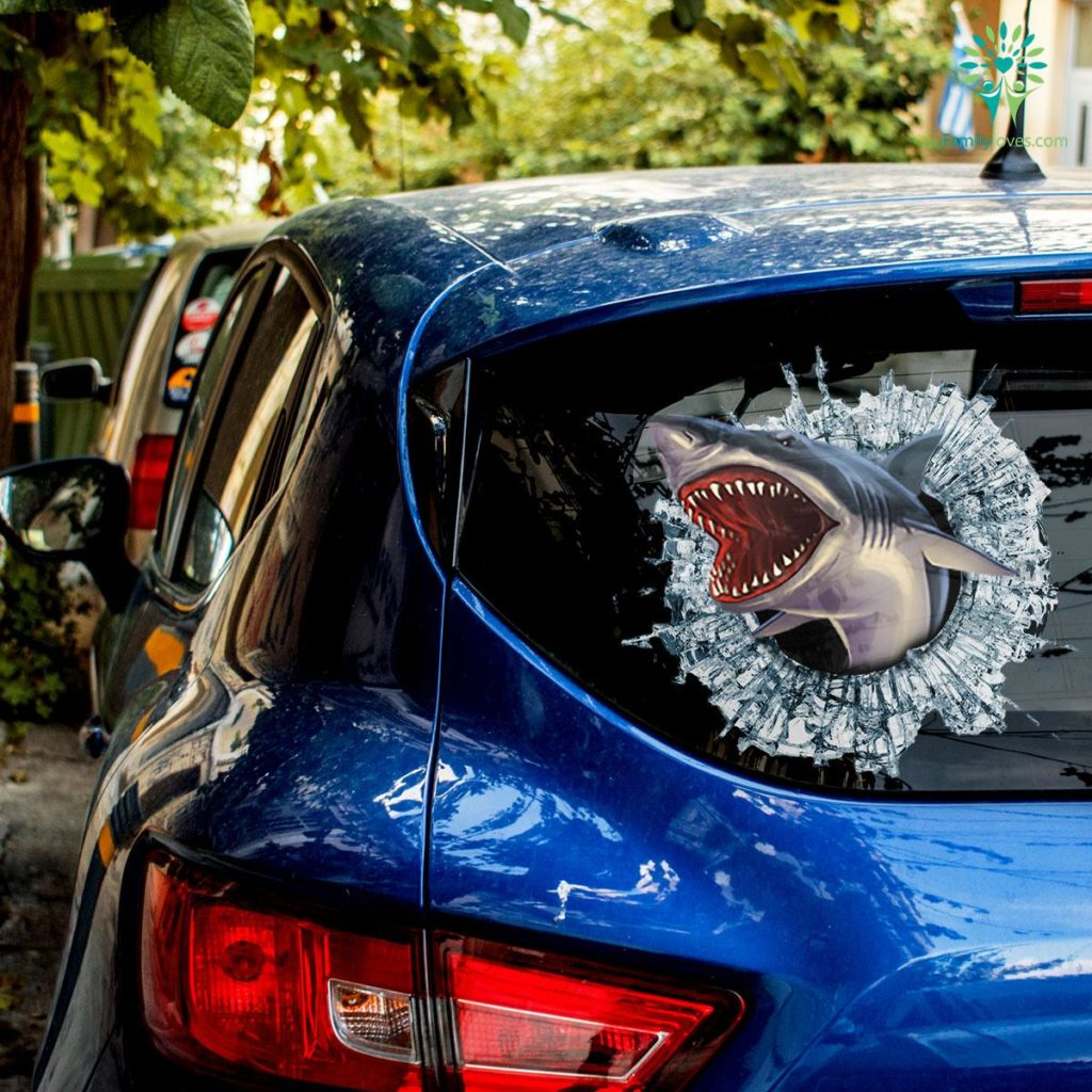 Killer Shark Car Decal And Broken Car Window Sticker, Anime Car Decals Familyloves.com