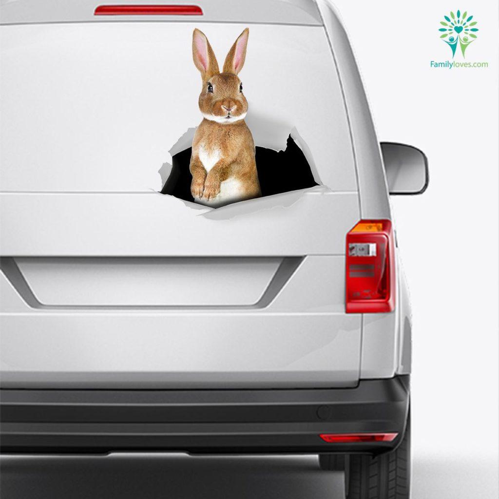 Rabbit Car Decal And Broken Car Window Sticker, Vinyl Car Decals Familyloves.com