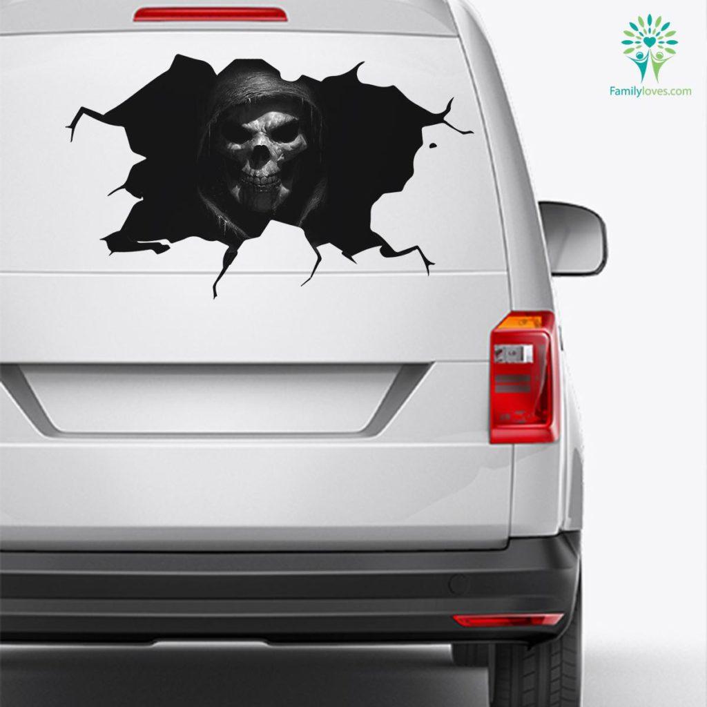 Skull Death Sticker Car Decal And Broken Car Window Sticker, Funny Car Decals Familyloves.com