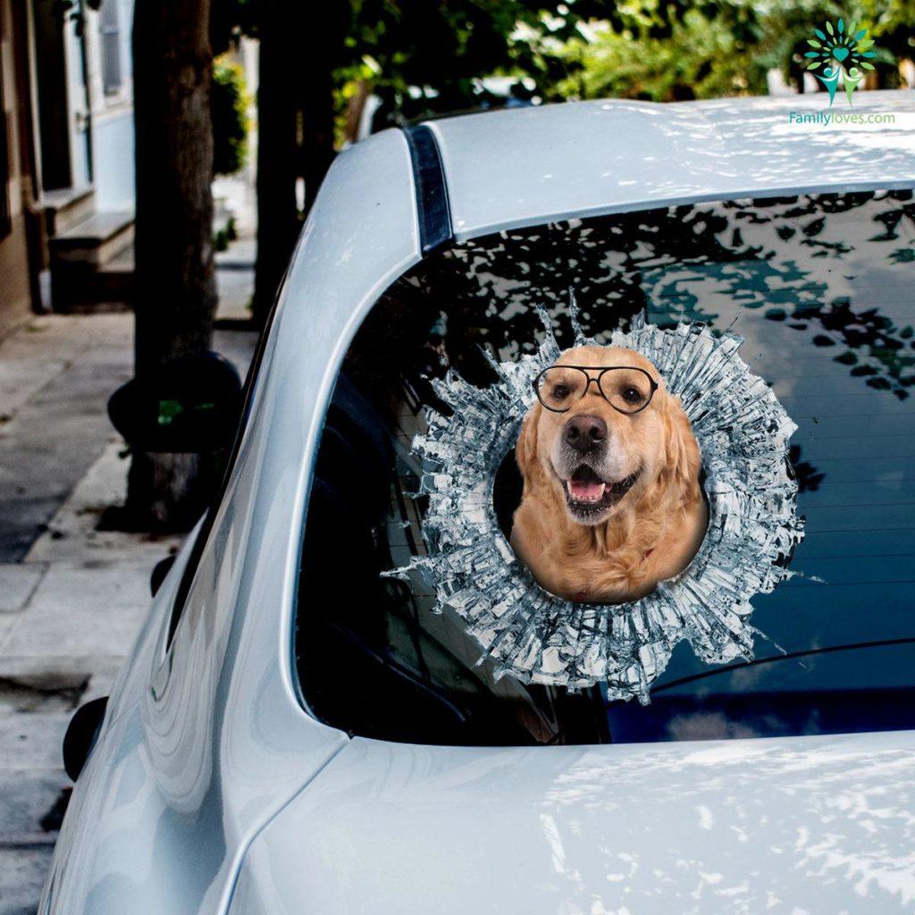 Funny Retrievers Golden Dog Car Decal And Broken Car Window Sticker, Dog Window Decal, Car Decal Stickers Familyloves.com